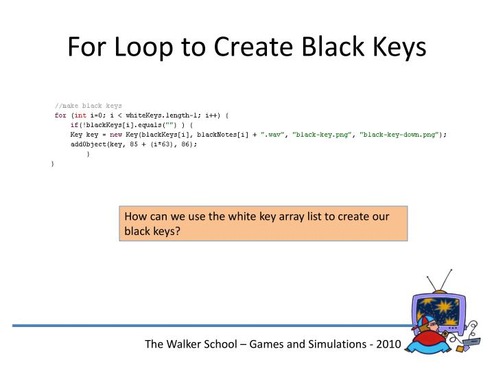 For Loop to Create Black Keys