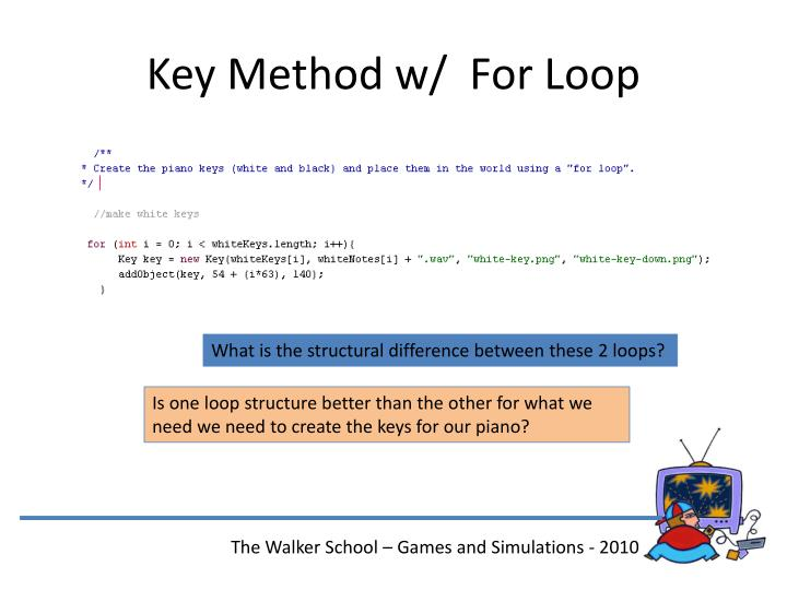 Key Method w/  For Loop