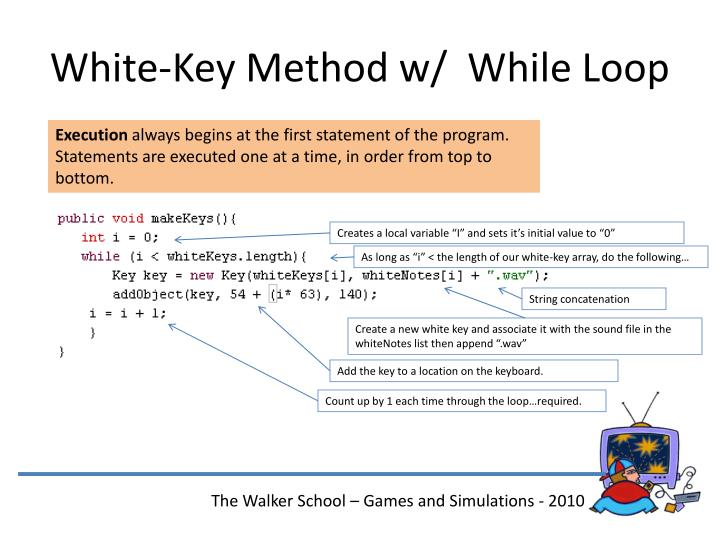 White-Key Method w/  While Loop