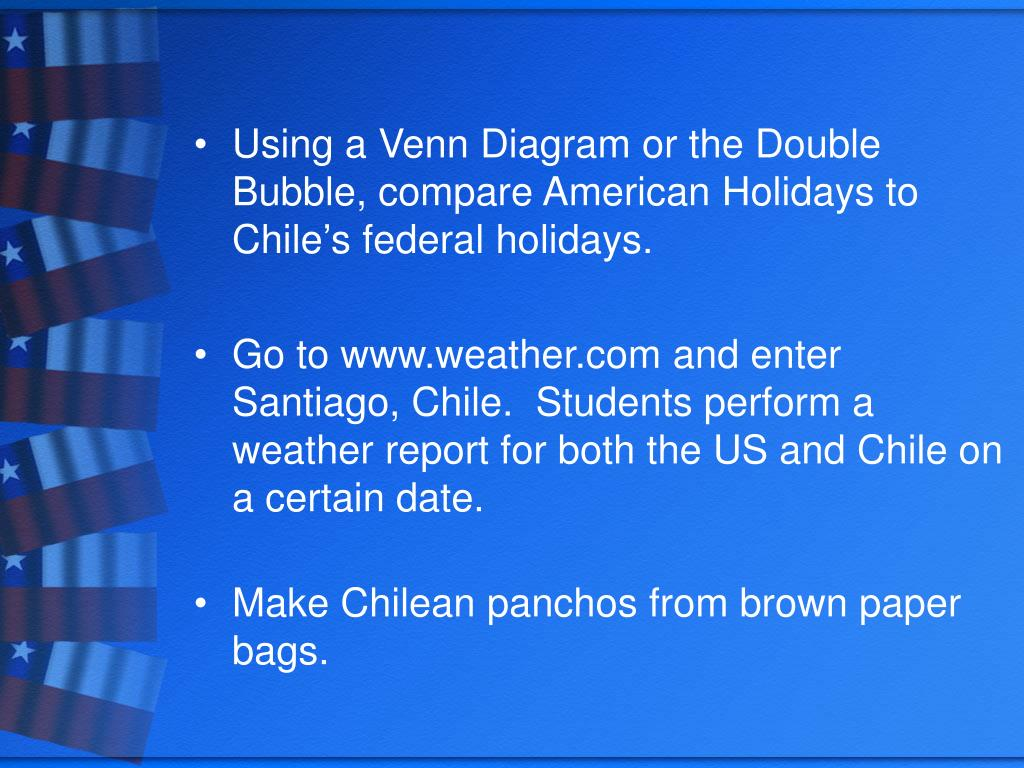 Using a Venn Diagram or the Double Bubble, compare American Holidays to Chile's federal holidays.