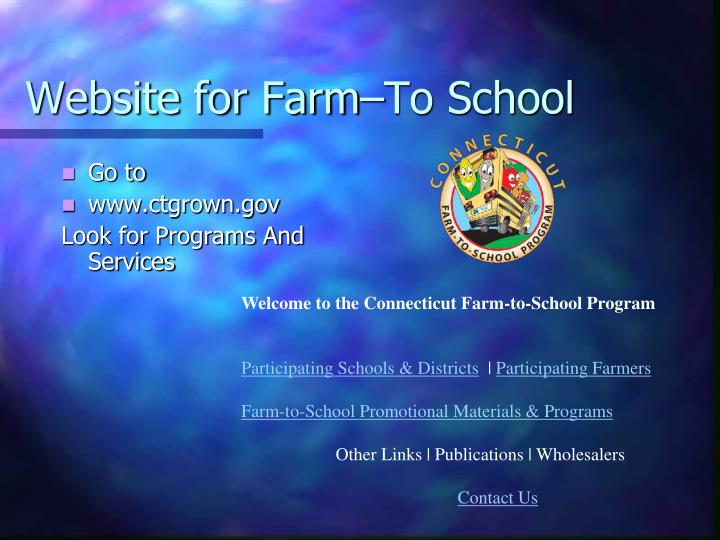 Website for Farm–To School