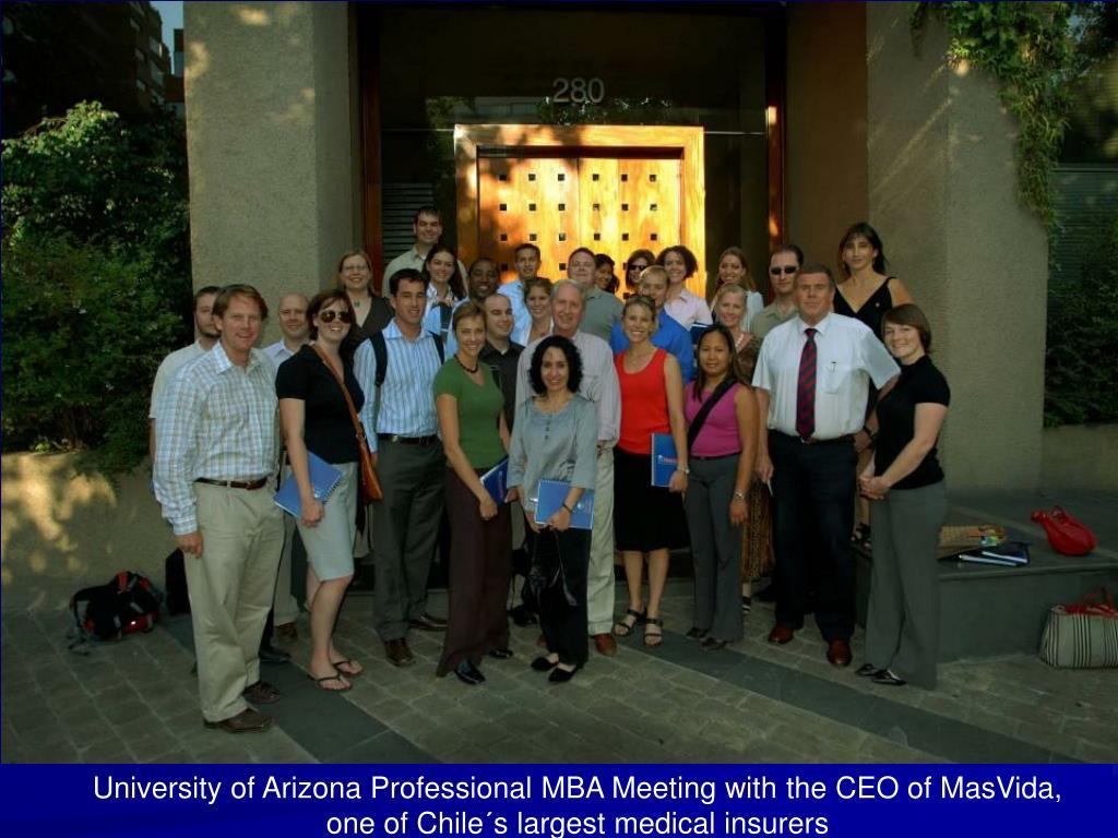 University of Arizona Professional MBA Meeting with