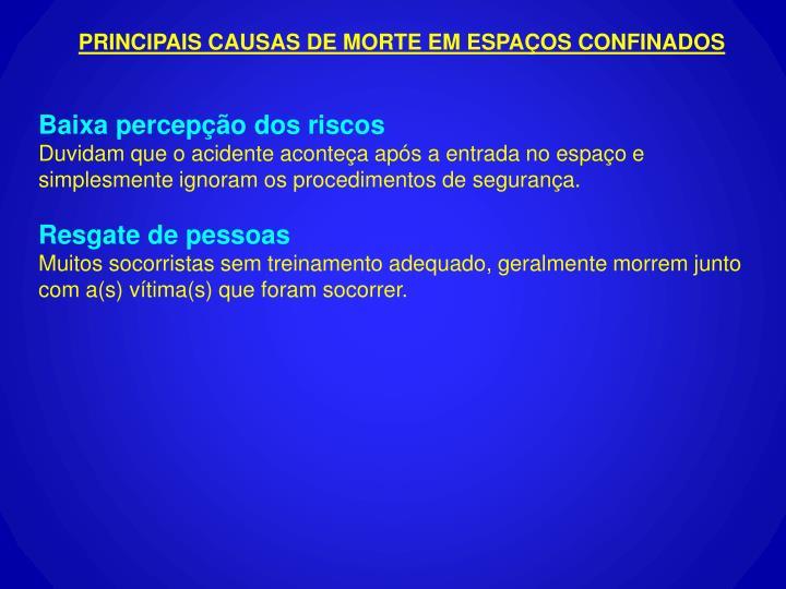 PRINCIPAIS CAUSAS DE MORTE EM ESPAÇOS CONFINADOS