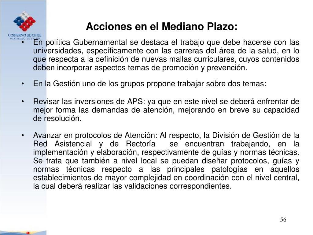 Acciones en el Mediano Plazo: