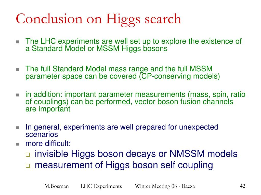 Conclusion on Higgs search