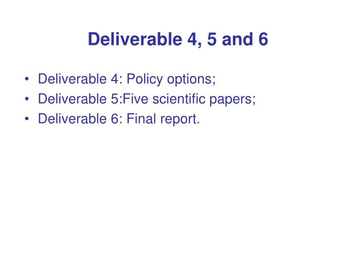 Deliverable 4, 5 and 6