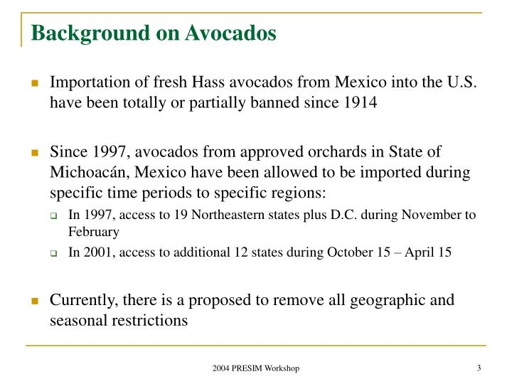 Background on avocados