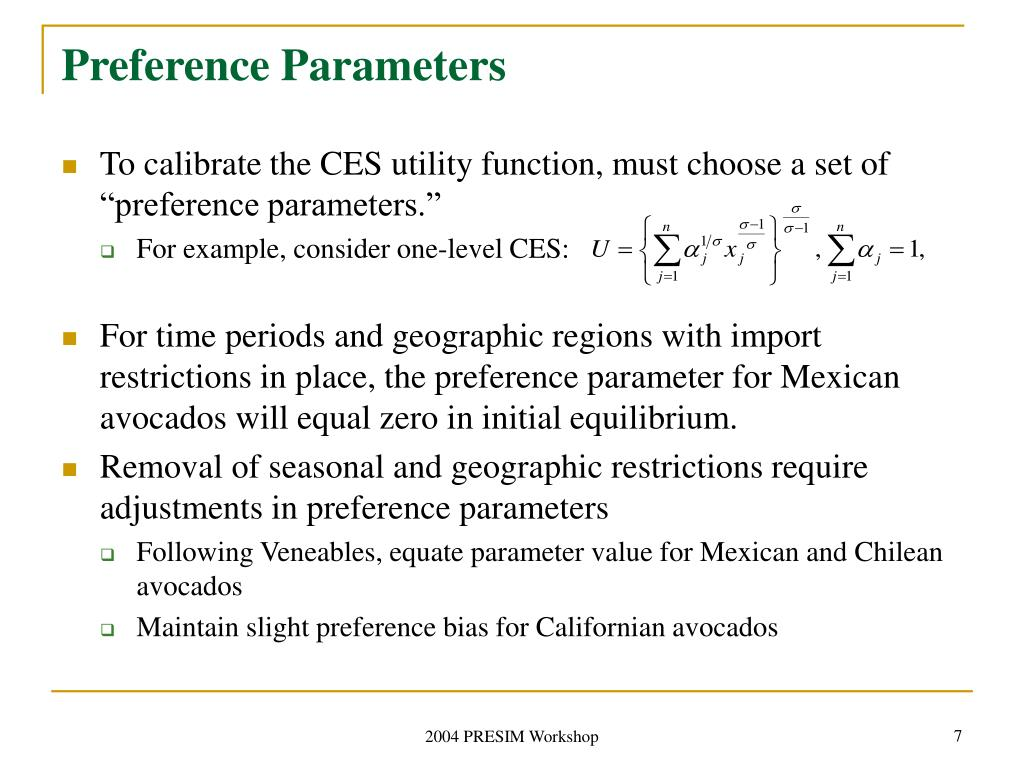 Preference Parameters