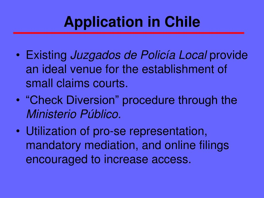 Application in Chile