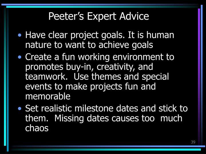 Peeter's Expert Advice