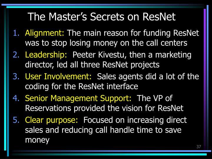 The Master's Secrets on ResNet