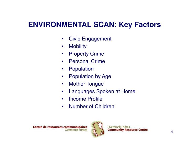 ENVIRONMENTAL SCAN: Key Factors