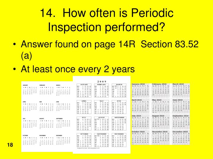 14.  How often is Periodic Inspection performed?