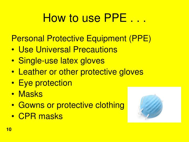 How to use PPE . . .