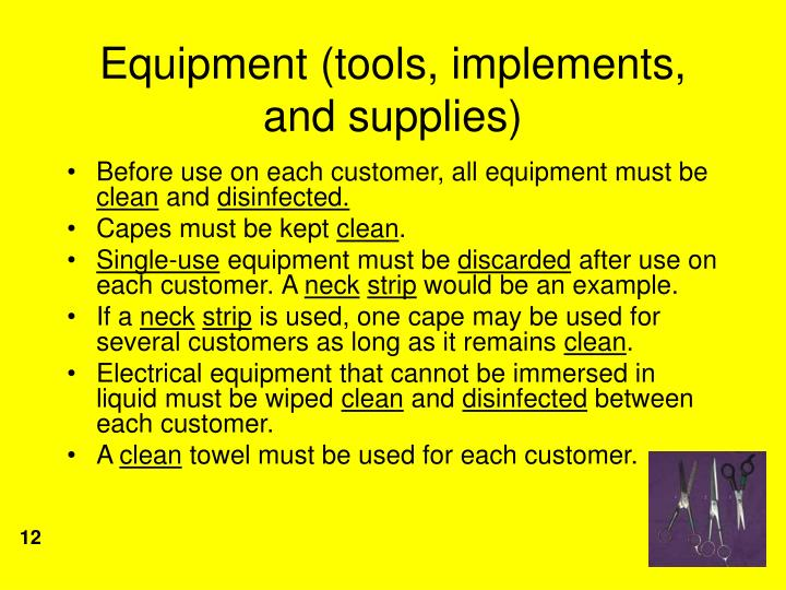 Equipment (tools, implements, and supplies)