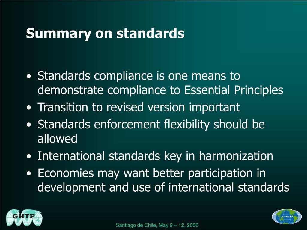 Summary on standards