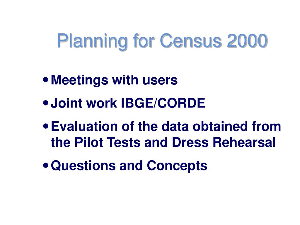 Planning for Census 2000