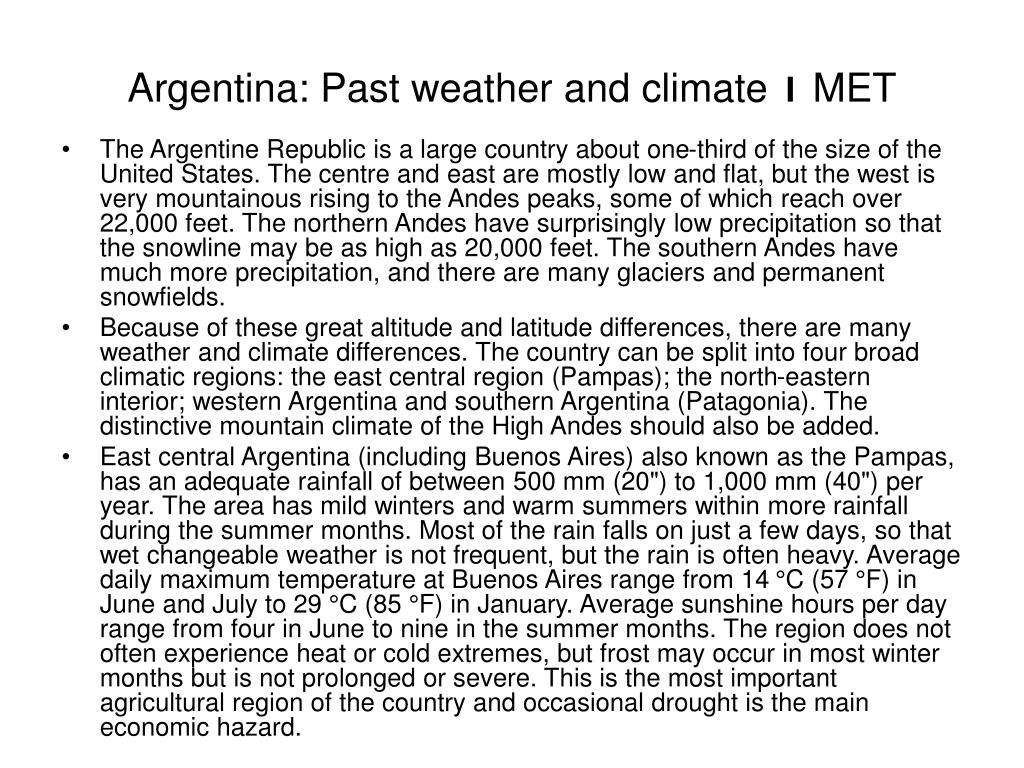 Argentina: Past weather and climate