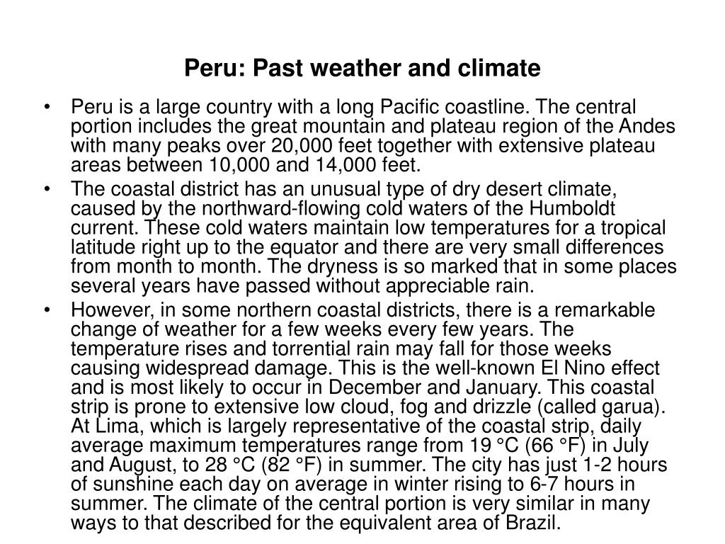 Peru: Past weather and climate