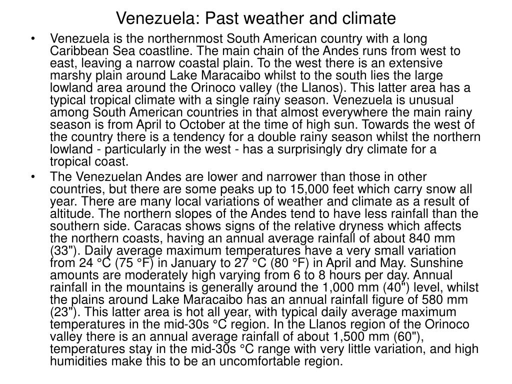 Venezuela: Past weather and climate