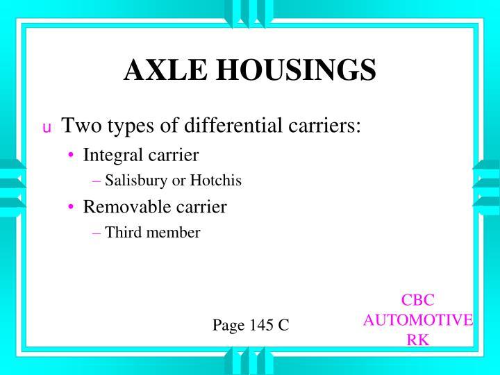 AXLE HOUSINGS