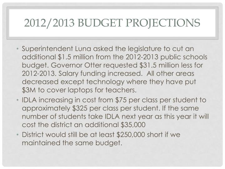 2012/2013 budget projections
