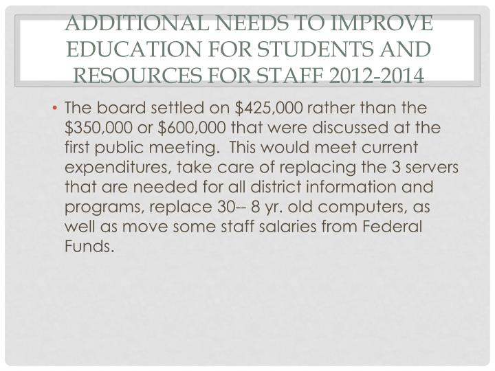 Additional needs to improve education for students and resources for staff 2012-2014