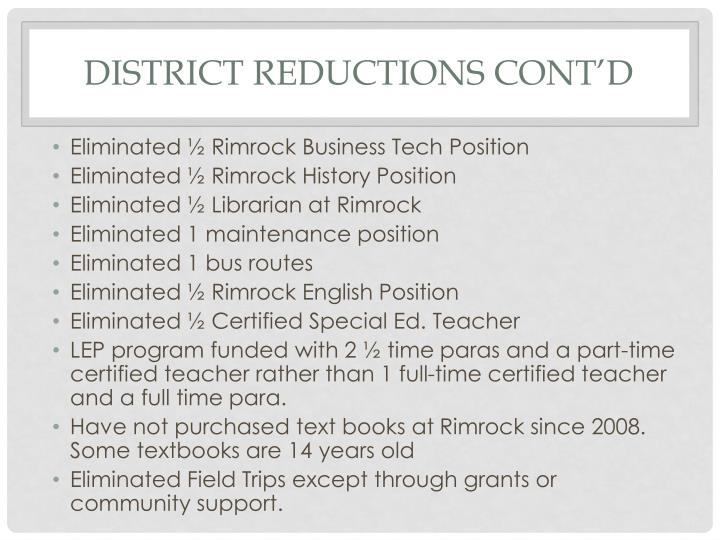 District reductions cont'd