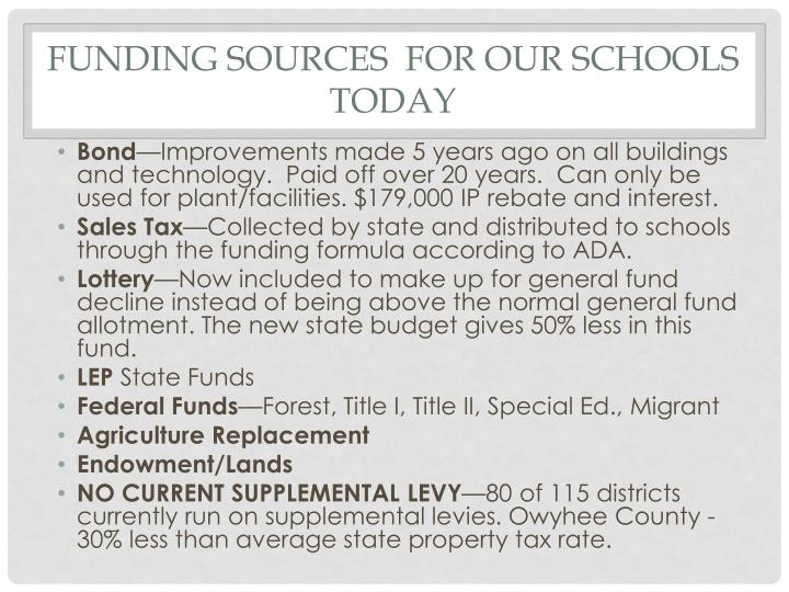 Funding sources  for our schools today