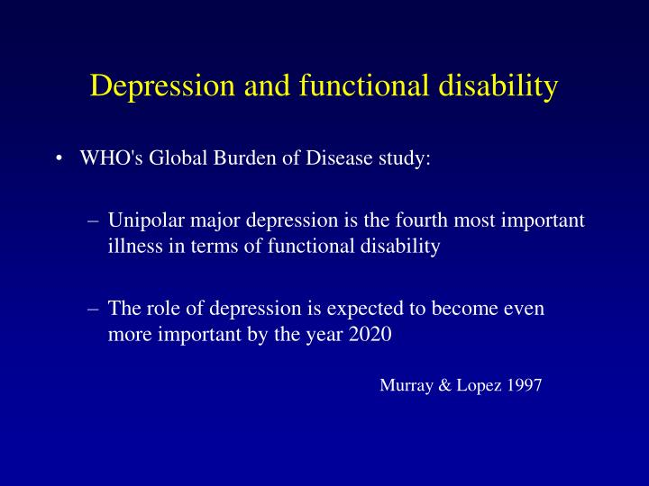 Depression and functional disability