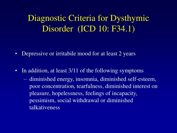 Diagnostic Criteria for Dyst