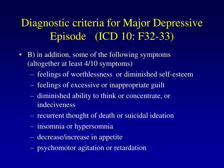 Diagnostic criteria for Major Depressive Episode (ICD 10: F32-33)