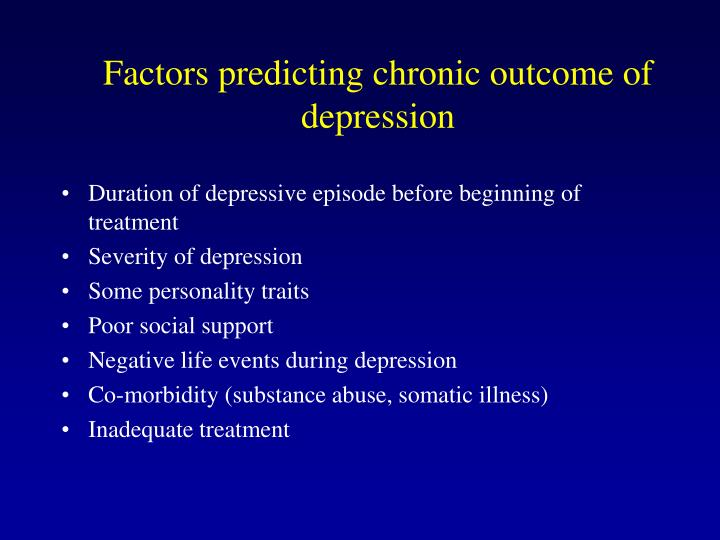 Factors predicting chronic outcome of depression