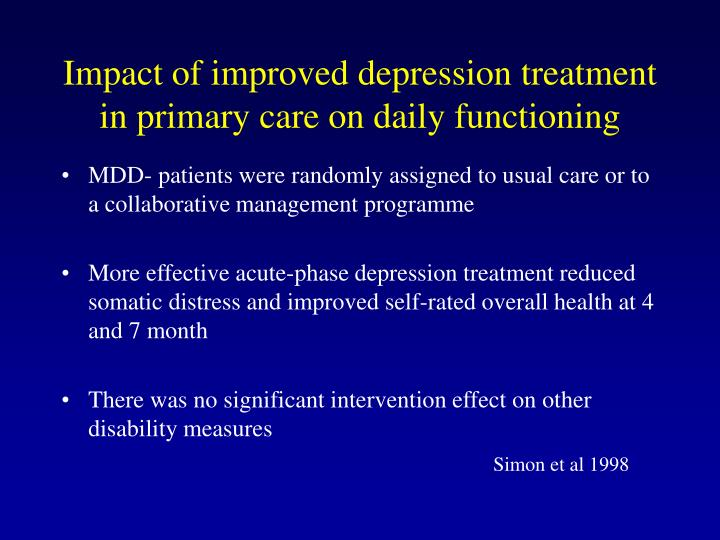 Impact of improved depression treatment in primary care on daily functioning