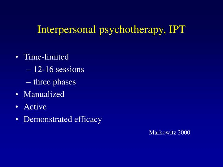 Interpersonal psychotherapy, IPT
