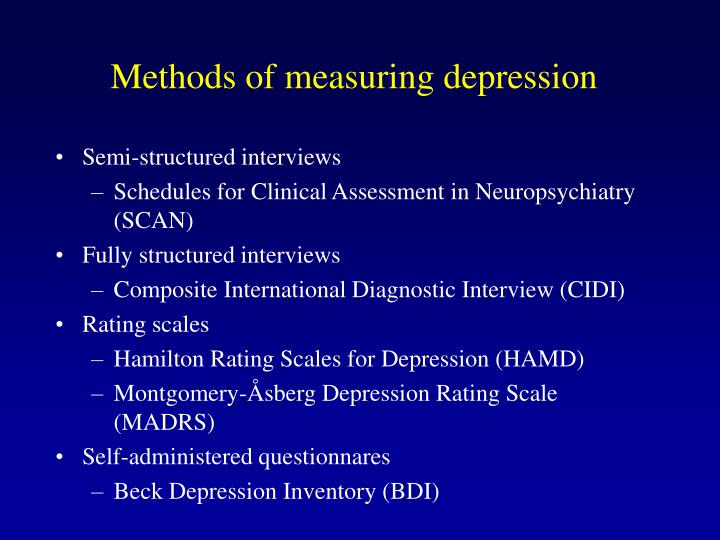 Methods of measuring depression