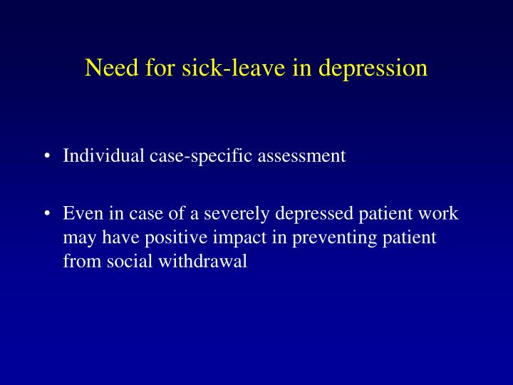 Need for sick-leave in depression