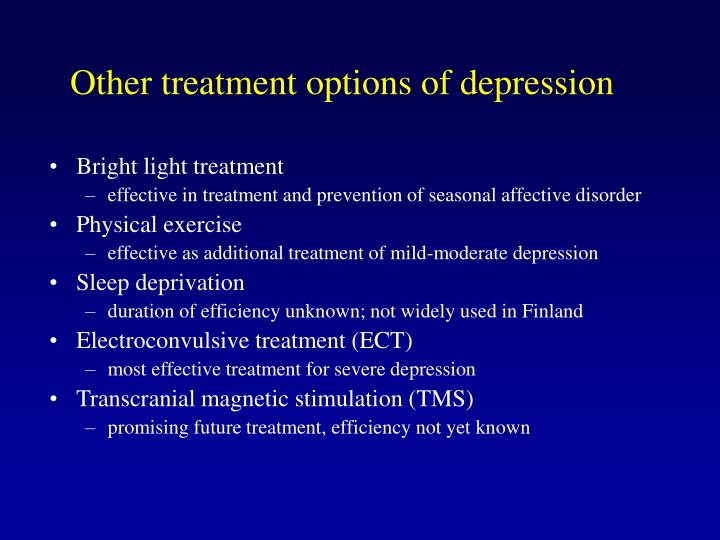 Other treatment options of depression