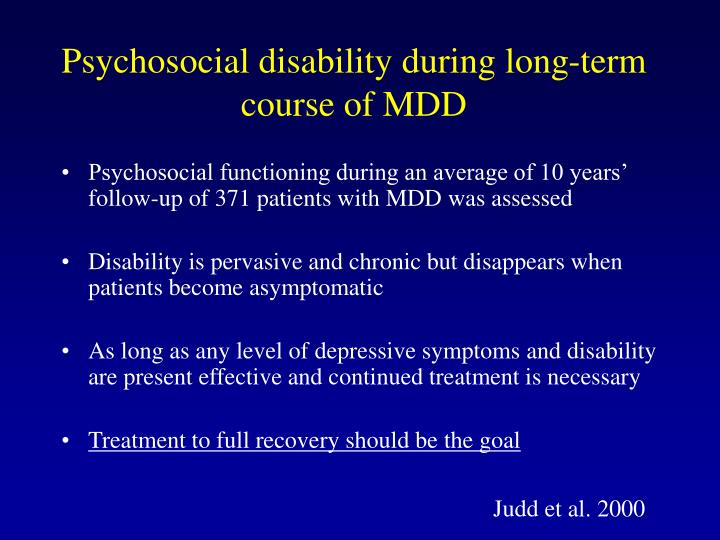 Psychosocial disability during long-term course of MDD