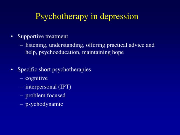 Psychotherapy in depression