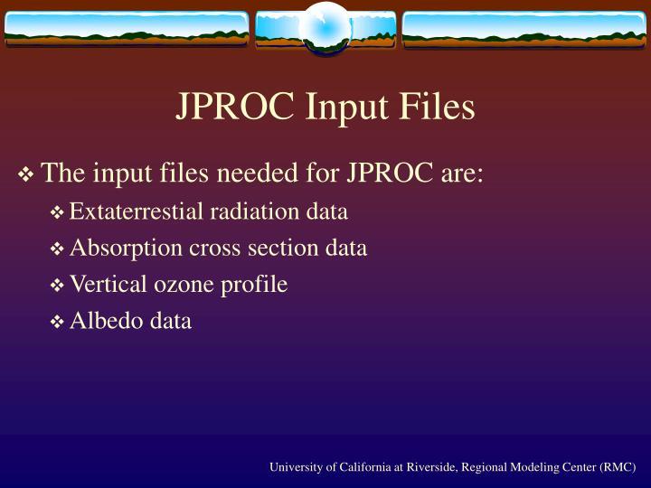 JPROC Input Files