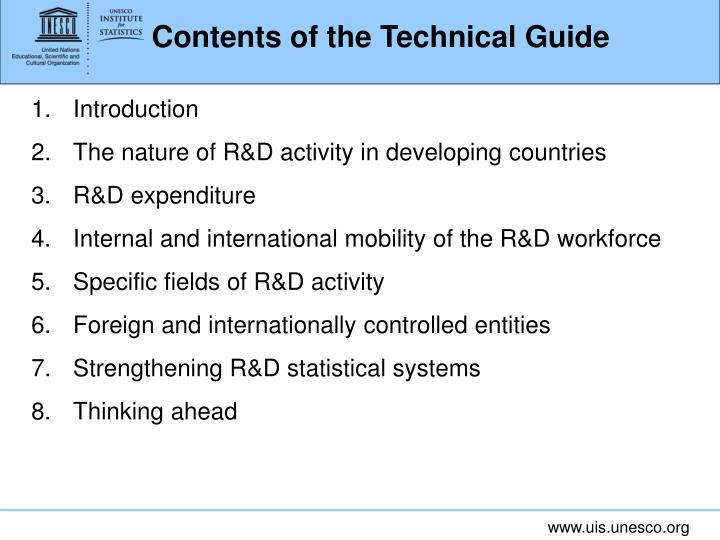 Contents of the Technical Guide