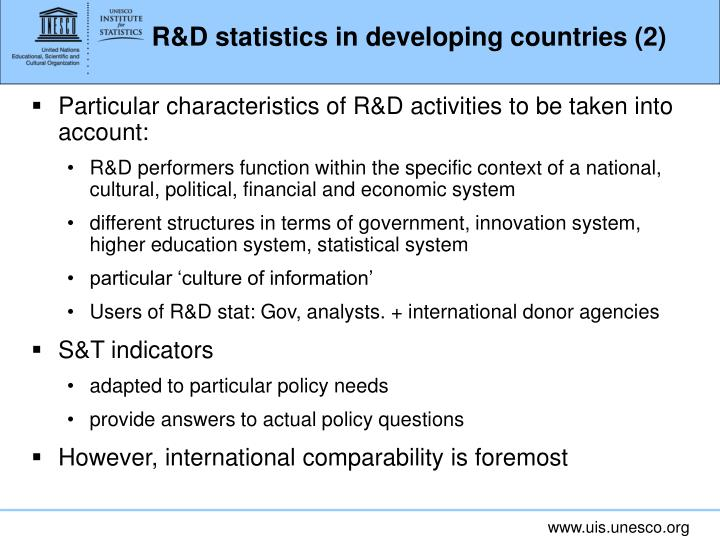 R&D statistics in developing countries (2)