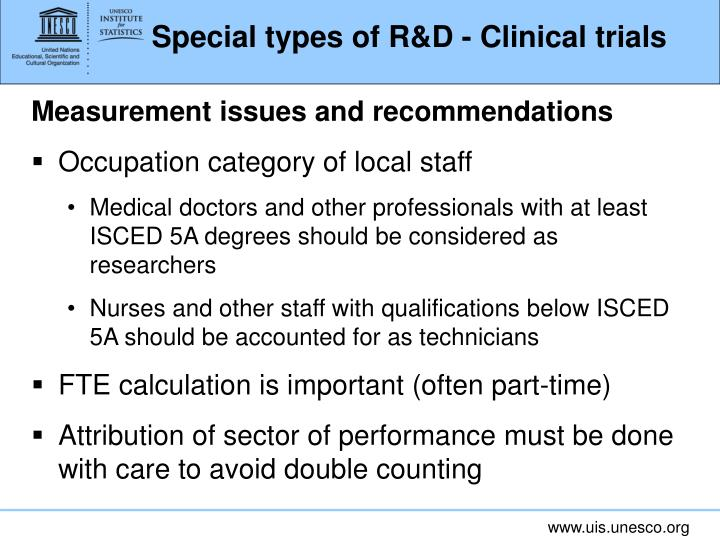 Special types of R&D - Clinical trials