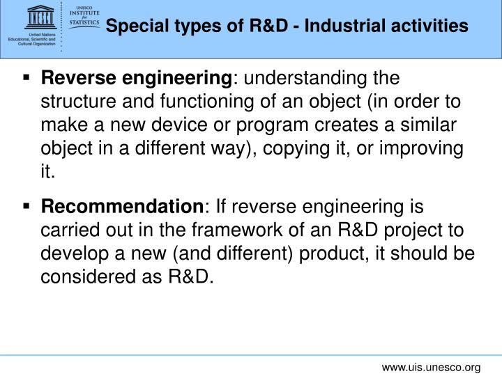 Special types of R&D - Industrial activities