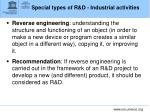 special types of r d industrial activities