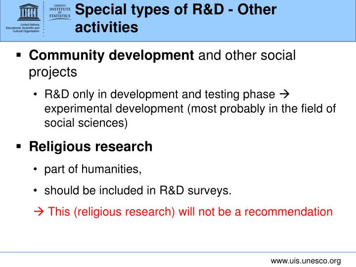 Special types of R&D - Other activities
