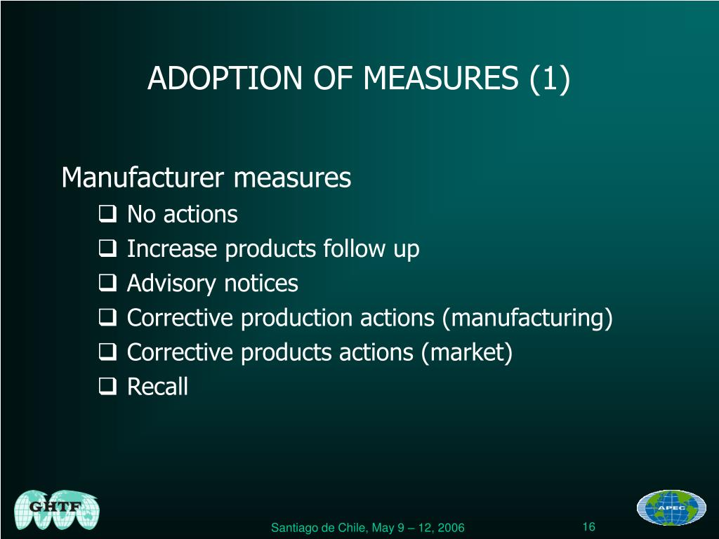 ADOPTION OF MEASURES (1)