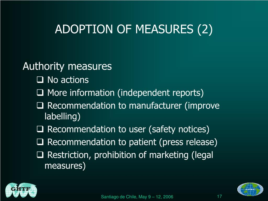ADOPTION OF MEASURES (2)