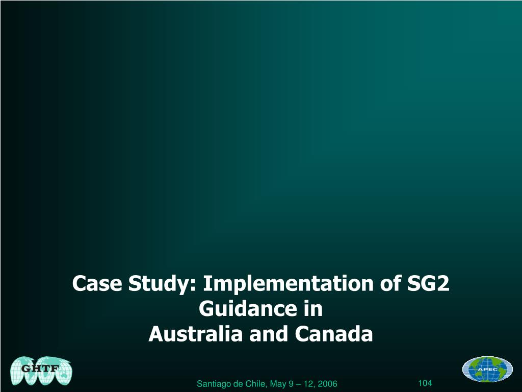 Case Study: Implementation of SG2 Guidance in